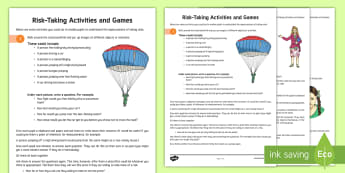 Risk-Taking Activities Teaching Ideas  - young people, PSHCE, challenges, decisions, Fun