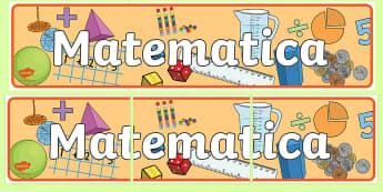 Matematica Striscione - matematica, strisicone, colorato, classe, decorazione, italiano, italian, materiale, scolastico