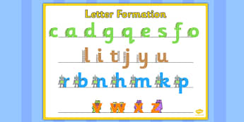 Large Letter Formation Poster - letter formation, poster, display