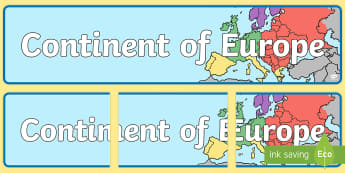Continent of Europe Display Banner - display banner, europe, EU, continent, countries, georgaphy,