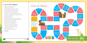 French Easter Board Game French - KS4, French ,Easter, board game, Pâques, GCSE, speaking, translation, traditions.,French