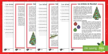Comprensión lectora de atención a la diversidad 2º ciclo: Los árboles de Navidad - lectura, lector, lecto, comprensión, comprensión lectora, atención a la diversidad, adaptación,