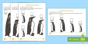 Măsoară pinguinii cu ajutorul cuburilor de gheață Fișe pentru activitate diferențiată - animale la poli, animale polare, polul nord, polul sud, arctic, antarctic, antarctida, română, mat