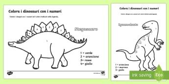 I Dinosauri Colora con i Numeri - i, dinosauri, colora, con, i numeri, matematica, italiano, italian.