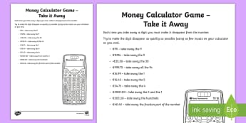 Money Calculator Game   Take It Away Activity Sheet-Irish - money, measures, calculator games, calculation, maths operations, mental maths, activity sheets,Iris