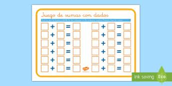 Juego: Sumas con dados - juego, dado, dados, sumar, adición, añadir, sumas, suma, operaciones, cálculo, mates, matemática