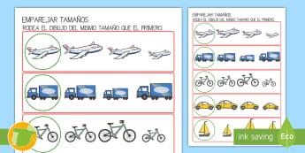 Ficha de emparejar tamaños: El transporte - transporte, coche, camión, avión, globo aerostático, autobús, moto, motocicleta, vía, carretera