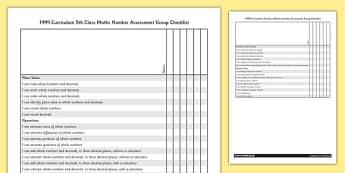 1999 Curriculum 5th Class Maths Number Assessment Group Checklist - roi, gaeilge, maths, curriculum, 1999