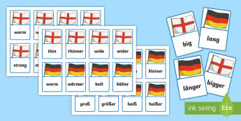 Comparative Adjectives Matching Cards German - German, Grammar, Adjectives, Comparative Adjectives