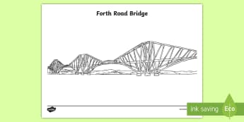 Forth Road Bridge Colouring Page - Scottish Landmarks, technology, engineering, STEM, Forth Bridges, Forth Road Bridge, CfE, tourist at