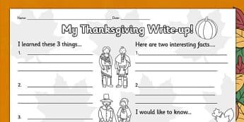 Thanksgiving Write Up Worksheet - Thanksgiving, Write, Worksheet