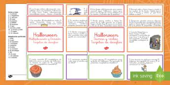 Halloween Tarjetas de desafío de matemáticas de atención a la diversidad-Spanish