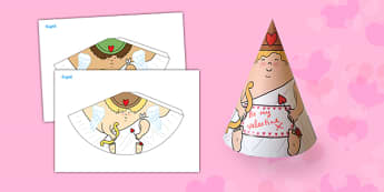 Valentine's Day Cupid Cone - valentines, cupid, love, cone, craft, valentine's day