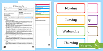 EYFS Bouncy Days! Adult Input Plan and Resource Pack - EYFS Uses Everyday Language Related to Time, shape space measure, SSM, Days of the Week, Mathematics