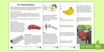 Car Journey Games Activity Sheet - Worksheet, family, parents, trips, travel, kids