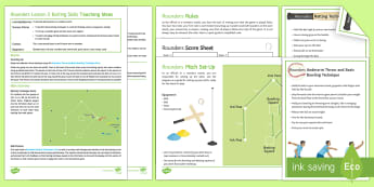 Rounders 2: Batting Lesson Ideas - fielder, pitch, umpire, base, batting, assessment