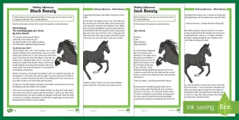 Black Beauty Mother's Day Inference Activity Sheet - Mother's Day, Mothering Sunday, UKS2, LKS2, story, reading comprehension, comprehension, reading, differentiatedDraw infer