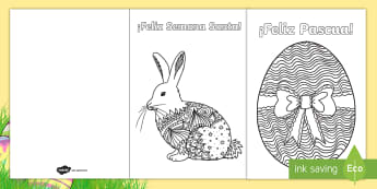 Mindfulness Easter Colouring Cards - Spanish - Spring, KS2, Spanish, MFL, cards, easter, colouring, mindfulness,Spanish