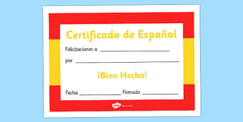 Spanish Award Certificate - Spanish Award Certificate, Spanish, language, Spain, certificates, award, well done, reward, medal, rewards, school, general, certificate, achievement, foreign, skills, language skills