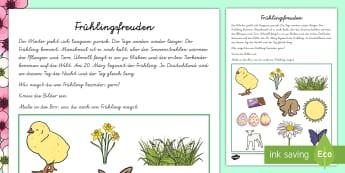 Frühlingsfreuden Arbeitsblatt - Frühling, Ostern, Eis, Blumen, Sonne, Regen, Wetter, spring, easter, ice-cream, flowers, sun, rain,