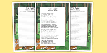 The Tyger KS2 Handwriting Practice - ks2, handwriting, practice, tyger