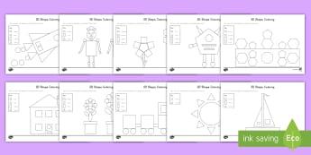 2D Shape Coloring Activity - Common Core Math, geometry, 2d shapes, attributes of shapes