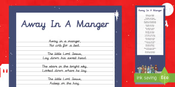 Away in A Manger Christmas Carol Handwriting Practice Activity - Christmas, Nativity, Jesus, xmas, Xmas, Father Christmas, Santa, St Nic, Saint Nicholas, traditions,