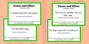 Guided Reading Skills Task Cards Cause and Effect Polish Translation - english, literacy, group work, infer, understand, listen, speak, challenge, activity,