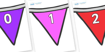 Numbers 0-31 on Bunting  (Multicolour) - 0-31, foundation stage numeracy, Number recognition, Number flashcards, counting, number frieze, Display numbers, number posters