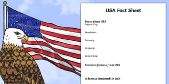 USA Factsheet Writing Template - usa, united states of america, usa fact sheet, usa fact file, usa worksheet, american culture, ks2 geography, places, ks2