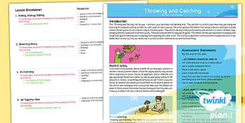 PlanIt - Year 1 PE - Throwing and Catching Planning Overview - PE, physical, PD, throw, catch, ball, skills, games, quoit, roll,