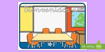Póster DIN A4: Bienvenidos a... - cartel, mural, póster, bienvenidos, bienvenida, bienvenido, exposición, exponer, decorar, decoraci