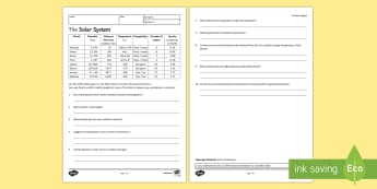 The Solar System Homework Activity Sheet - Homework,worksheet, how science works, science skills, graphs, data handling, understanding tables,