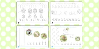 The Tale of Mr Jeremy Fisher Pencil Control Sheets - Beatrix Potter, frog, tracing