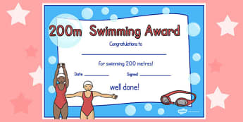 200m Swimming Certificate - swimming, certificate, 200m, awards