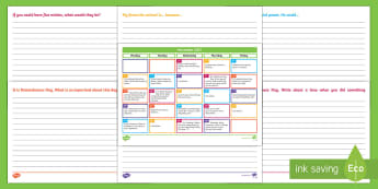 November 2017 Writing Prompts Display Calendar - Literacy, November Writing Prompts Display Calendar, ACELY1661, ACELY1671, creating texts, year one,