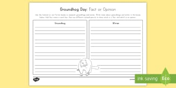 Groundhog Day Grades 3-4 Fact or Opinion Activity Sheet  - Groundhog Day, winter, hibernation, facts, research, opinion, worksheet, activity sheet