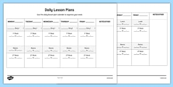 Daily Lesson Plans Week to a Page Calendar