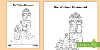 The Wallace Monument Colouring Page - CfE Scottish Significant Individuals, William Wallace, Wallace Monument, Scottish Wars of Independen