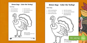 Simon Says Turkey Coloring Activity