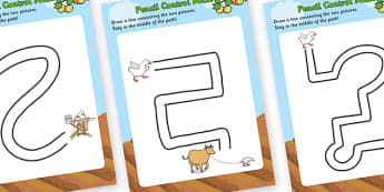 Farmer Duck Pencil Control Maze Worksheets - farmer duck, pencil control, pencil control maze worksheets, maze worksheets, farmer duck themed sheets