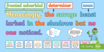 Fronted Adverbials KS2: Features of Sentences Display Pack - what is a fronted adverbial?, fronted adverbial, adverbials, ISPACE, openers, commas, fronted, subor