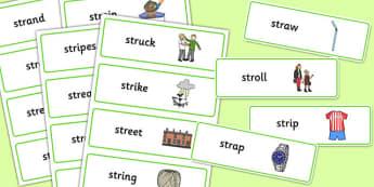 STR Word Cards - sen, sound, str sound, str, word cards, word, cards