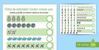 Ficha de actividad: Número anterior - El espacio - Contar menos uno, contar, contar objetos, el espacio, extraterrestres, contando, uno menos, resta, c
