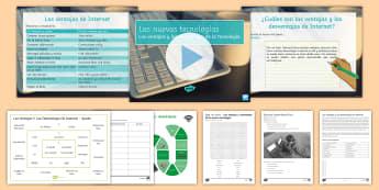 New Technologies Lesson 3: Advantages and Disadvantages of the Internet Lesson Pack Spanish - KS4, Spanish, New Technologies, everyday, life, ordenador, movil, teléfono, tableta, portatil, vide