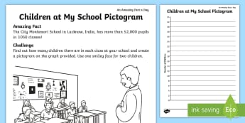 Children at My School Pictogram Activity Sheet - Amazing Fact Of The Day, activity sheets, powerpoint, starter, morning activity, March, pictogram, t