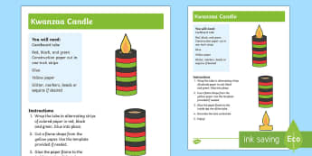 Kwanzaa Candle Craft Instructions - Kwanzaa, candle, African American, tradition, heritage, culture,