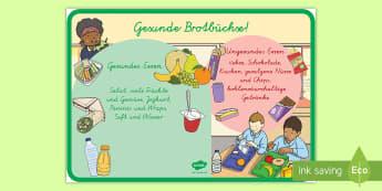 Gesunde und ungesunde Brotbüchse Poster für die Klassenraumgestaltung - Gesunde und ungesunde Brotbüchse Poster für die Klassenraumgestaltung, Gesunde und ungesunde Ernä