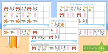 Beach Differentiated Complete the Pattern Activity Sheet - Ocean, Beach animals, Patterns, Complete the Pattern, sequence, cut and paste