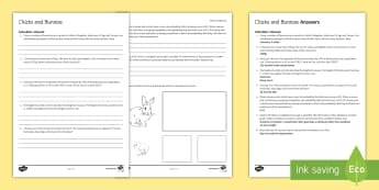 Bunnies and Chicks Easter Activity Sheet - Secondary - Easter Resources, maths revision, GCSE, Easter, worksheet, simultaneous equations, averg